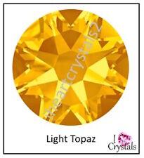 LIGHT TOPAZ 12 pieces 20ss 5mm Yellow Gold Swarovski Crystal Flatback Rhinestone