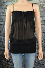 * Womens Elegant Sleeveless Black Voile Evening Party Blouse Top Size 6 / 8