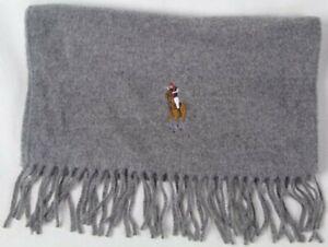 Polo Ralph Lauren Grey Wool Scarf Multi Colored Big Pony NWT