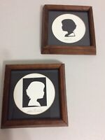 Pair of  Framed Silhouettes by L Pierre Bottemer American Artist Mid Century
