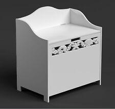 White Laundry Basket Hamper Modern Bathroom Clothes Storage Unit Cabinet Bin Lid