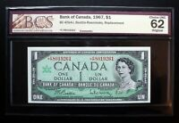 1967 BANK OF CANADA $1 Rare Replacement Note *F/P 8018110 BCS CH.UNC62 BC-45ba-i