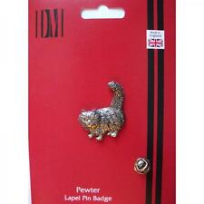 Standing Cat English Pewter Lapel Pin Badge Pussy Lover Owner Birthday Present