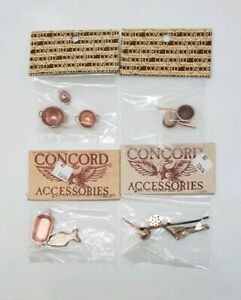 NOS Concord Dollhouse Miniature Lot of (4) - Copper- Toned Kitchen Stuff