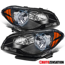 For 2008-2012 Chevy Malibu Black Clear Headlights Lamps Left+Right Pair+Amber