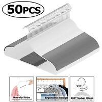 Pack of 50 Plastic Hangers Hook Non-Slip Surface Clothing Organizer 360° Swivel