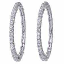 Swarovski Elements CZ Round Hoop Earrings 18k White Gold Plated 35 mm