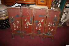 Antique Chinese 4 Panel Room Divider-Painted Scenes Children Playing Women-Small