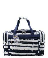 "Canvas 20"" carry on airplane/duffle/gym/overnight bag NWT Sand Stripe Beach Navy"