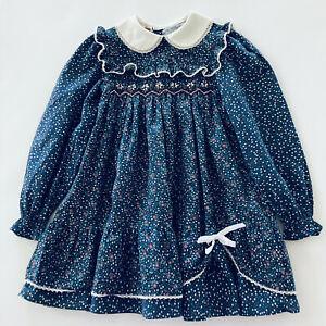 Vintage Disney Girls 6X Floral Smocked Dress Long Sleeve Blue Ruffled