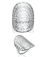 Bague Large Ajourée Argent Massif 925/1000 Bijoux Tailles 50-52-54-56-58-60