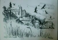Gwrych Castle Abergele Conwy Pea Restall signed Limited edition Print Art Welsh