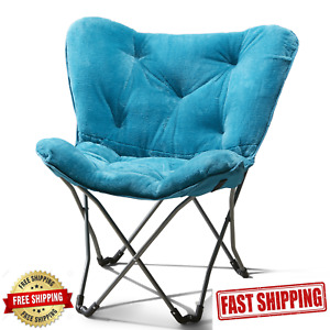 Oversized Moon Chair Butterfly Faux-Fur Folding Seat Soft Living Room Sofa Stool