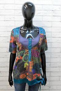 Maglia Donna Desigual Taglia L Maglietta Blusa Manica Corta Polo Elastica Casual