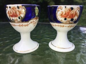 Vintage Ceramic hand Painted Decorated Egg Cups x 2