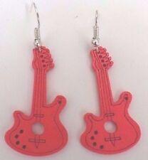 Boucles d'oreilles argentées guitare en bois rose