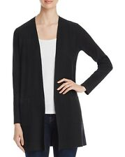 NEW Eileen Fisher Black Ribbed Wool Long Cardigan Size M