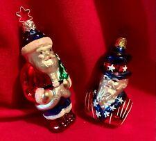 Uncle Sam Bust,Patriotic Santa,Old World Christmas,Germany,Retired ,Set of 2