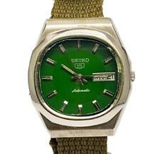 SEIKO 5 Automatic 17Jewels Forest Green Dial Day & Date Vintage WristWatch 6309A