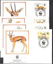 v1837 Burkina Faso / WWF 1993 Gazellen   MiNr 1298/1301 auf 4 FDC
