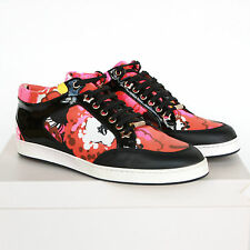 JIMMY CHOO floral print orange & pink low top shoes Miami sneakers 38-IT/8 NEW