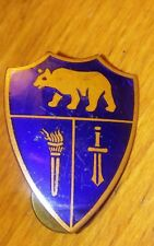 "Antique Cobalt BLUE ENAMEL Shield of Armour PIN Bear Torch Sword 1.3"" Crest Tack"