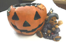 1996 Boyds Bear Emma The Witchy Bear Pumpkin Votive Holder Halloween 2770 M14