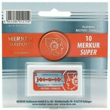 Merkur Super Platinum Stainless Steel  Double Edge Razor Blades 10 pc FAST SHIP