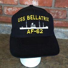 e5c90dc058e USS BELLATRIX AF-62 US NAVY Black Military Trucker Hat Cap Snapback  Adjustable