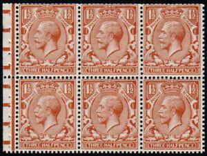 1924 KGV Block Cypher 1½d Red-brown Booklet Pane U/M SG 420e, Spec NB14
