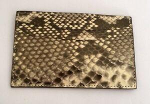 JUDITH LEIBER METALLIC GOLD AND CREAM KARUNG SNAKESKIN 5 SLOTS CARD HOLDER