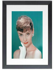 BLACK FRAMED AUDREY HEPBURN THOUGHTS - GLOSSY PRINTED PICTURE 325mm x 425mm