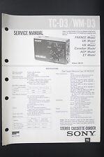 SONY TC-D3 WM-D3 Walkman/Stéréo Cassette Corder manuel de Service/Amplificateur