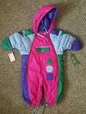Vintage Brambilla Kids Toddler Down Snowsuit Size 1T Multicolor 80/90's Mitten