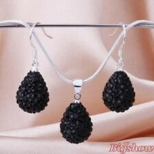 & Pendant Set With Silver Chain Sparkly Crystal15mm Jet Black Teardrop Earrings