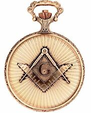 Masonic Pocket Watch Full Hunter with Compasses and Square - Antique Gold Plated