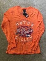 Harley Davidson Orange V Neck Long Sleeve Shirt NWT Women's Large