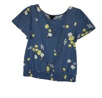 Ann Taylor Blue Floral Printed Crew Neck Short Sleeve Tee Womens Size XS Top