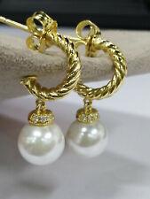 David Yurman 18K Freshwater Pearl & Diamond drop hoop Solari Earrings