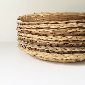 "Vtg Lot of 8 Wicker Rattan Bamboo Paper Plate Holders Basket Wall decor 9.5"" D"