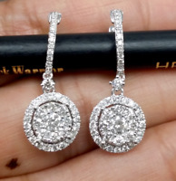 DEAL! 1.00CT NATURAL ROUND DIAMOND CLUSTER HALO EARRINGS 14K GOLD