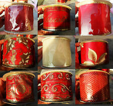 New Wired Christmas RIBBON Gift Wrapping Red or Champagne & Gold Holly Swirls...