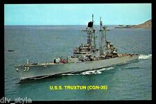 USS Truxtun CGN-35 postcard US Navy ship nuclear-powered guided missile cruiser