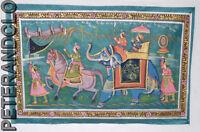 Parete Pittura Mughal Su Seta Arte Scena Di Vita India 74x47cm 24