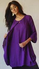 purple dress mini tunic top M L 1X 2X layered draping angle zb166