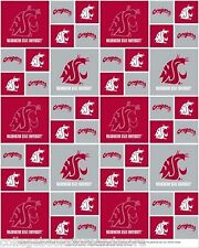 WASHINGTON STATE UNIVERSITY COTTON FABRIC-WASHINGTON STATE COUGARS FABIRC-WAS020