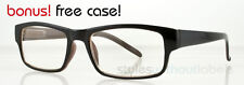 80s Retro Hipster Style Square Frame Glasses Clear Lens Nerd Black n Brown Chic