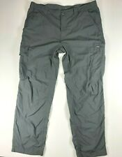 Men's Columbia Omni-Shade Hiking Pants Grey Size 38x32 Lightweight Breathable