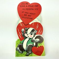 Vtg Valentines Card Skunk PoleCat Poison Ivy Funny Greeting Cute Usa 40s 50s