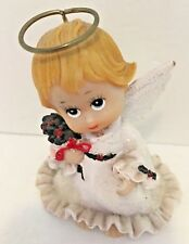 """Angel Figurine Christmas Statue Holly Berries Leaves White Wings Halo 3 1/2"""" t"""